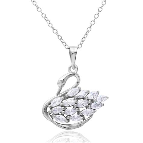 925 Sterling Silver Swan Necklace sterling silver cz swan necklace sbgp01166