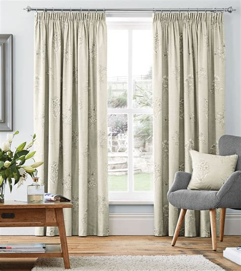 beige and cream curtains cream beige floral 100 cotton pencil pleat curtains