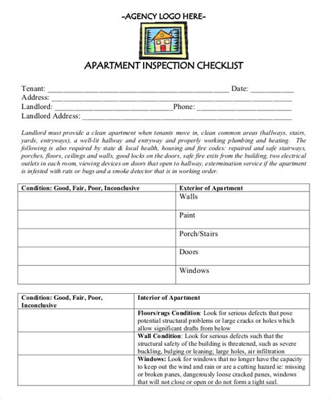 New Apartment Checklist 9 Free Word Pdf Documents Download Free Premium Templates Apartment Inspection Checklist Template