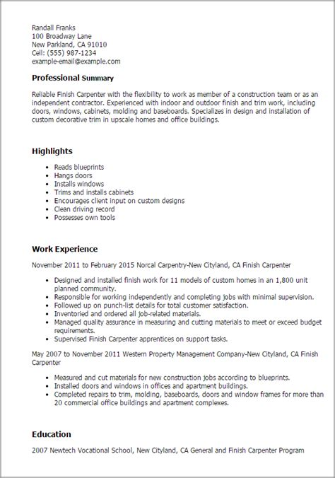 Finish Carpenter Cover Letter by Carpenter Description For Resume Writing Resume Sle Writing Resume Sle