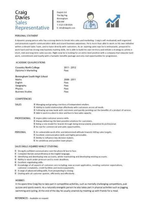 Sle Of Student Resume With No Experience Sales Cv Template Sales Cv Account Manager Sales Rep Cv Sles Marketing