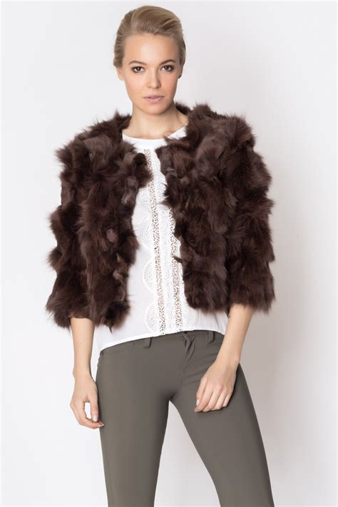 Cropped Fur Jackets by Chagne Strawberry Fox Fur Cropped Jacket From