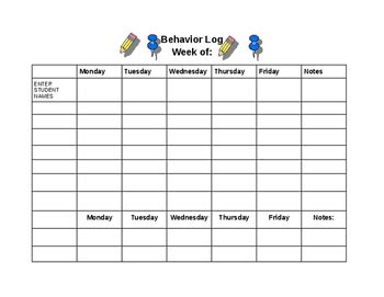 behavior log template demerit chart by fortescue s