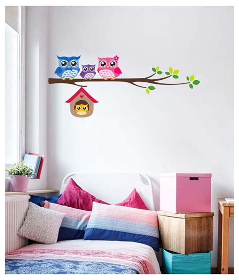 myntra home decor stickerskart multicolor owl family sitting on branch with