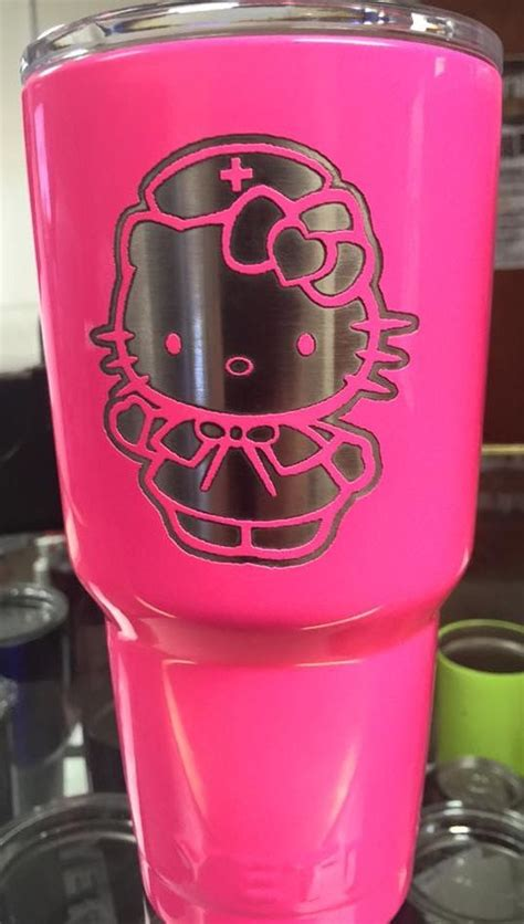 hello laser pink hello yeti powder coated and laser
