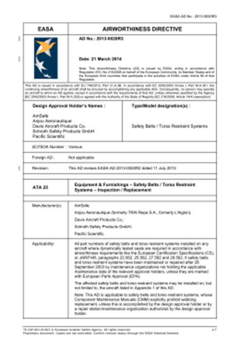 Service Letter Easa Easa Form 112 N Pad Template Easa Airworthiness Directives