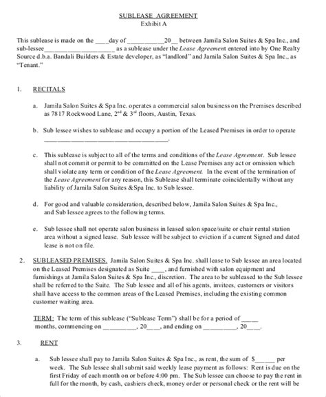 business rental agreement template sle commercial