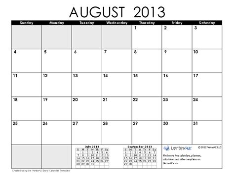 august 2013 calendar printable free calendars and calendar templates printable calendars