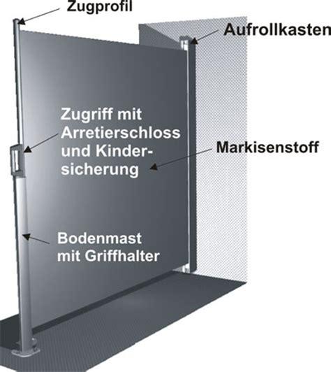 Seitenmarkise Am Boden Befestigen by Seitenmarkise Technische Details Und Bedienung