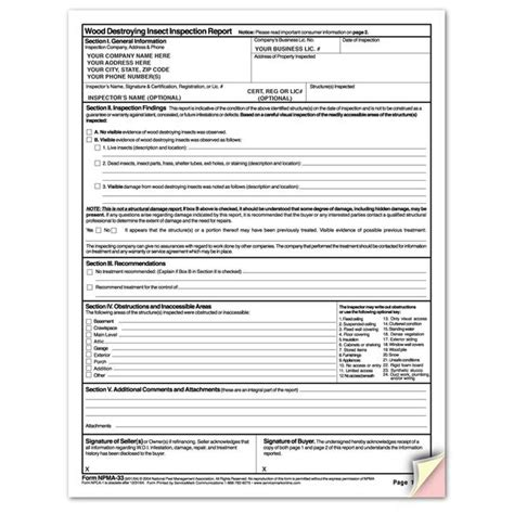 wood destroying insect certification npma 33 wdi report forms