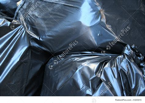waste  recycle black plastic bag background stock