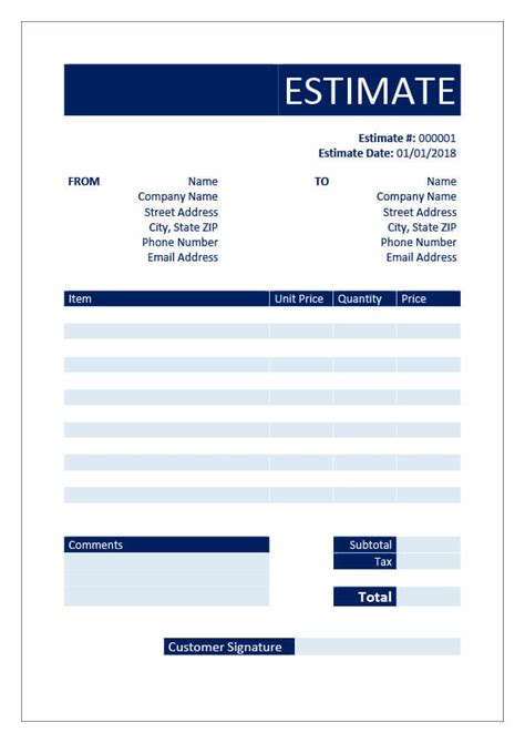 Free Estimate Templates Download In Word Excel Pdf Invoice Genius Free Estimate Template Word