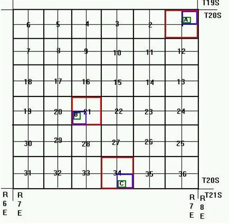 township range section grid using township range coordinates