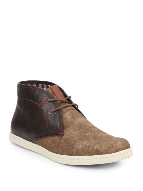 ben sherman victor two tone leather chukka boots in brown