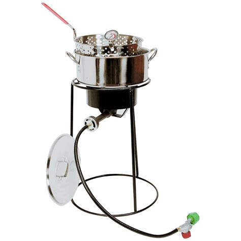 Cing Cooker With Grill by King Kooker 174 22 Quot Outdoor Cooker With Stainless Steel Fry