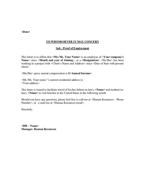 Confirmation Letter For Visa Application letter of employment template for visa the letter sle