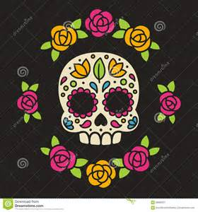 mexican sugar skull with flowers stock vector image