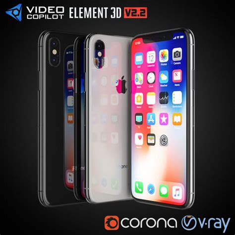 3d model apple iphone x all colors cgtrader