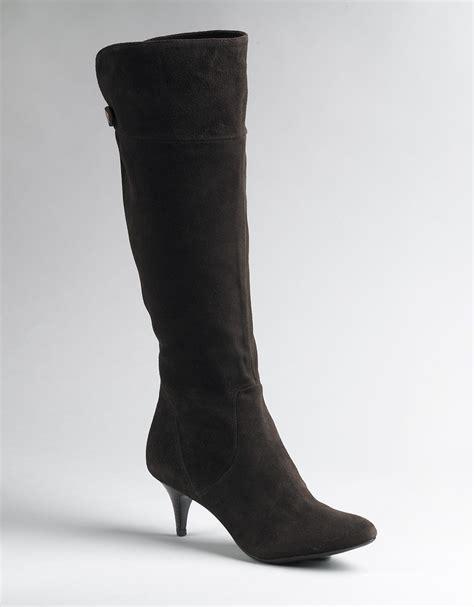 calvin klein jonie suede knee high boots in brown brown