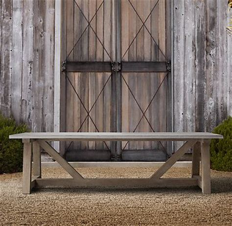 French Beam Weathered Concrete Teak Dining Restoration Restoration Hardware Teak Outdoor Furniture