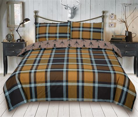 Bed Cover Ukuran 220 X 230 Microtex Polos Bed Cover Only check stag brown bedding king duvet cover set 5060543350173