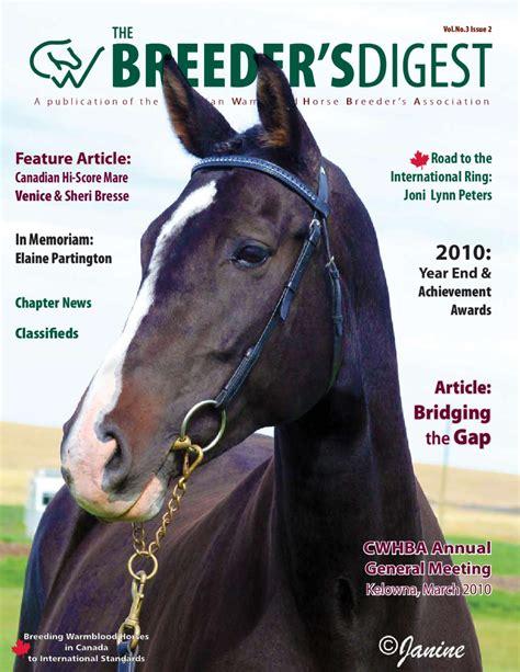 breeders digest spring  canadian warmblood horse