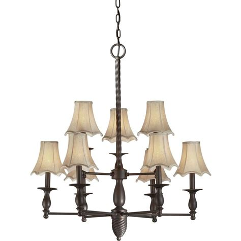 chandeliers with fabric shades talista 9 light antique bronze chandelier with fabric