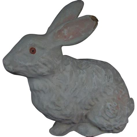 vintage white papier mache easter bunny rabbit from