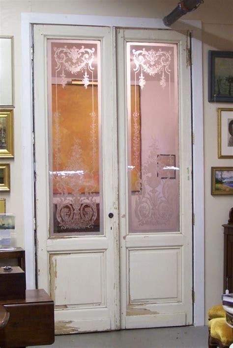 pair  french blown glass doors  paris antique
