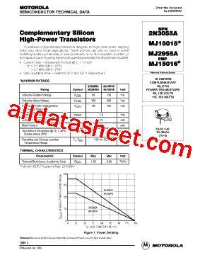 datasheet transistor 2n3055 2n3055 datasheet pdf motorola inc
