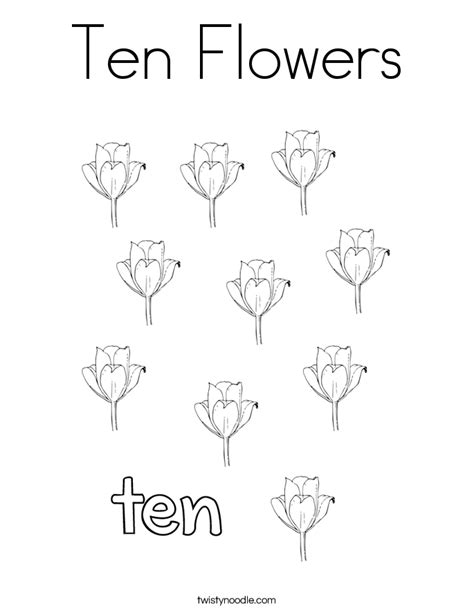 number 10 coloring page twisty noodle ten flowers coloring page twisty noodle