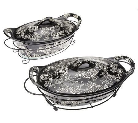 temp tations oven to table set temp tations vintage paisley 8 oval oven to table