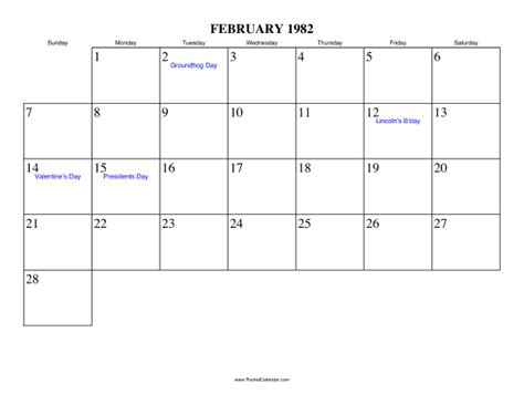 March 1999 Calendar February 1982 Calendar