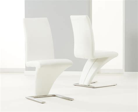 White Leather Dining Chairs Uk Pair Of White Hereford Pu Leather Chrome Z Dining Chairs