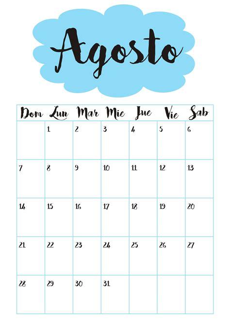 Calendario Mes De Agosto Calendario 8 Agosto Calendario 2016
