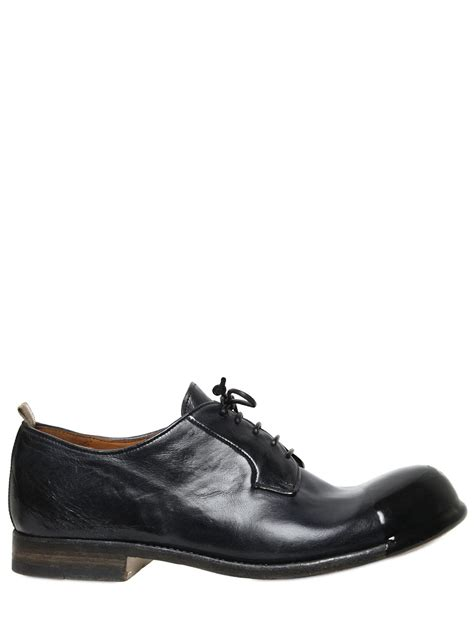 officine creative resin coated toe brushed leather shoes