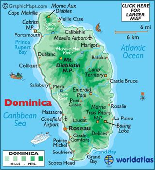dominica on world map dominica map geography of dominica map of dominica