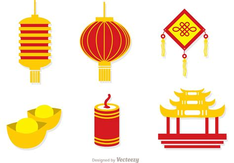 lunar new year vector lunar new year icons vector free vector
