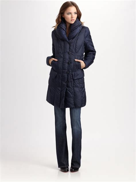 Pillow Collar Coat by Creenstone Pillow Collar Puffer Coat In Blue Lyst