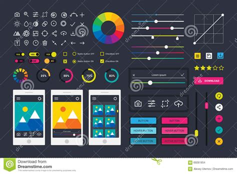 app design elements vector photographic photo editor app icons ui elements frames