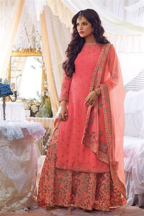 straight suits online PEACH DESIGNER PUNJABI WEDDING WEAR