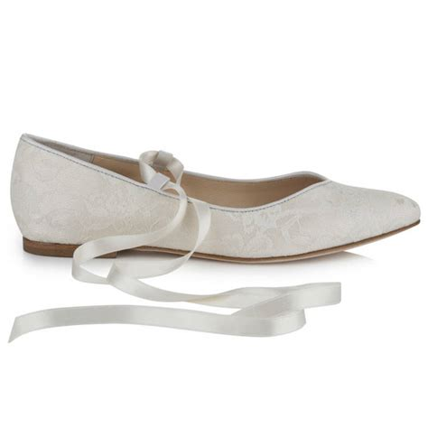 flat ivory lace wedding shoes bluebell flat ivory lace wedding shoes by