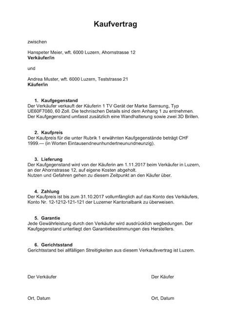 Kaufvertrag Auto Zwischen Unternehmen by Kaufvertrag Vorlage Schweiz Muster Vorlage Ch
