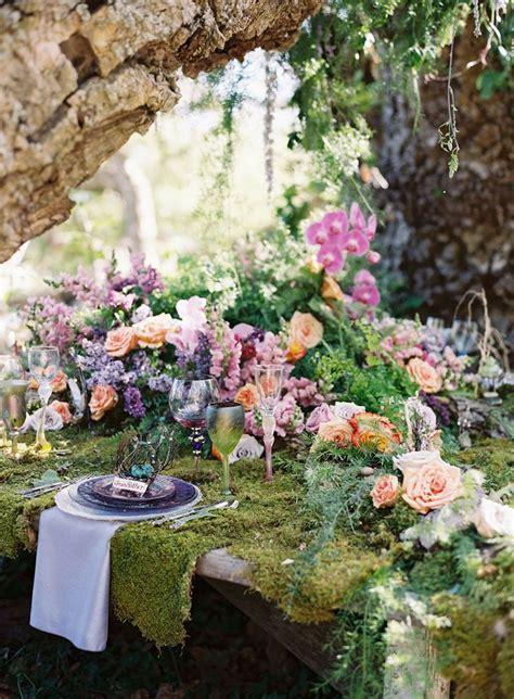 chic decor diy elegant fairy fantasy flower flowers 56 woodland wedding table settings happywedd com