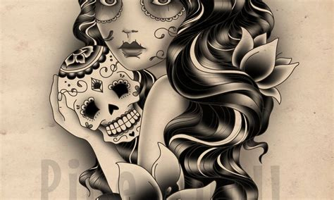 gypsy skull tattoo designs custom and sugar skull design katehelenmuir