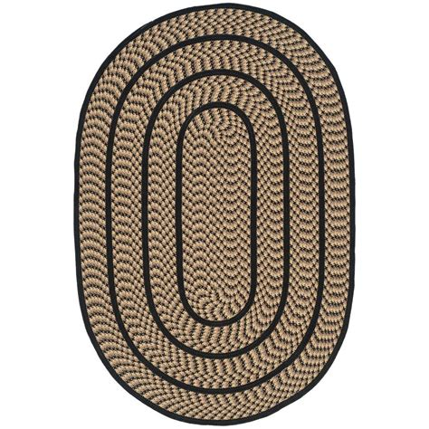 safavieh braided beige black 3 ft x 5 ft oval area rug