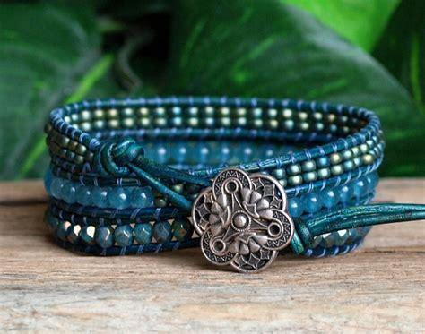 leather bead wrap bracelet wrap bracelet wrap beaded leather bracelet blue