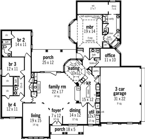 Mediterranean Style House Plans 2982 Square Foot Home 1 Story 4 Bedroom Mediterranean House Plans