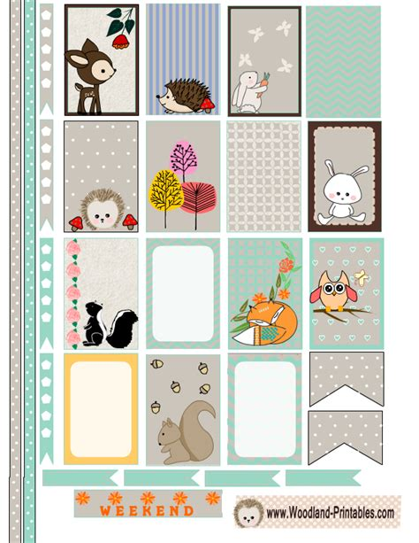 happy planner printable free free printable woodland animals stickers for happy planner