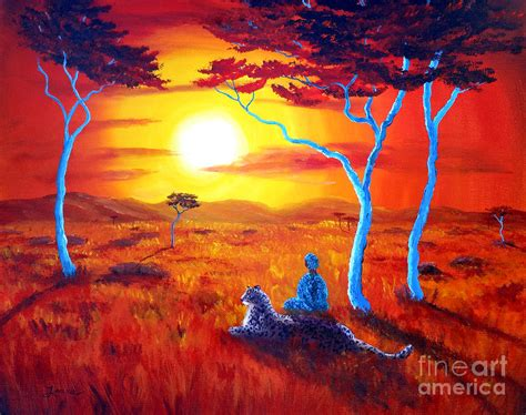 African Safari Home Decor by African Sunset Meditation Painting By Laura Iverson